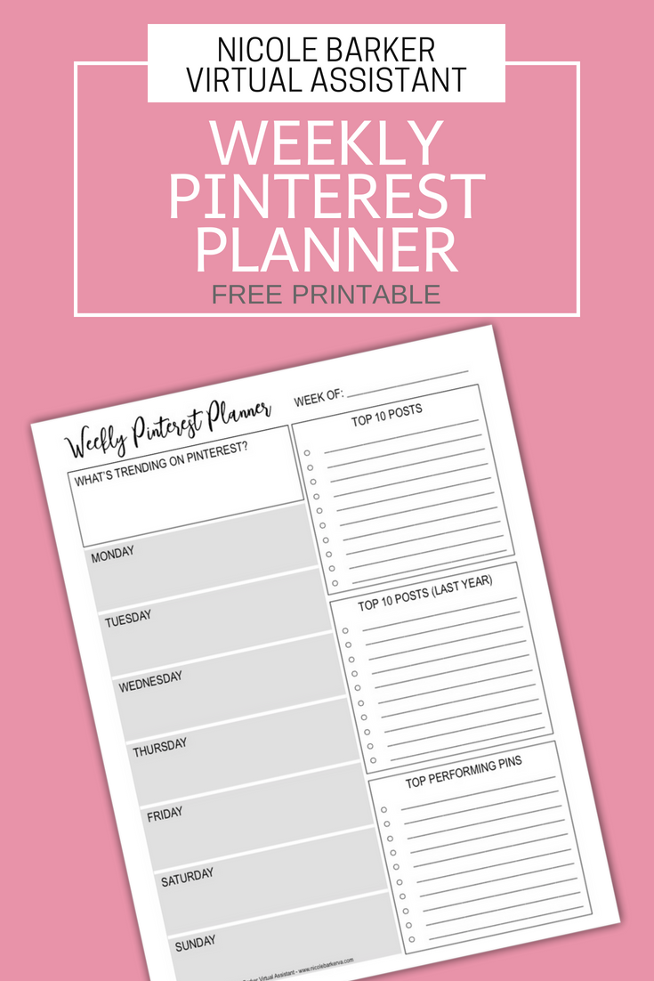 image relating to Free Weekly Planner named Weekly Pinterest Planner Cost-free Printable - Nicole Barker